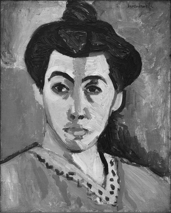 greyscaled_Henri Matisse, Portrait of Madame Matisse, The Green Line, 1905 700W