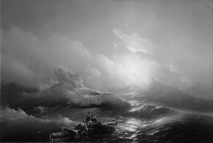 greyscaled_Ivan Aivazovsky, The Ninth Wave, 1850 700W
