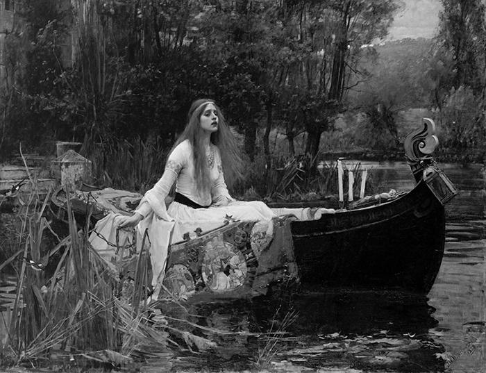 greyscaled_John William Waterhouse, The Lady of Shalott, 1888 700W