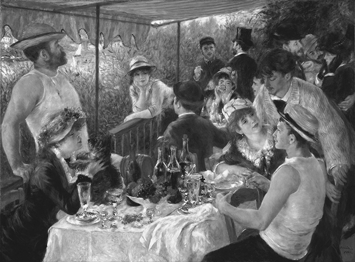 greyscaled_Pierre-Auguste Renoir, Luncheon of the Boating Party, 1881 700W