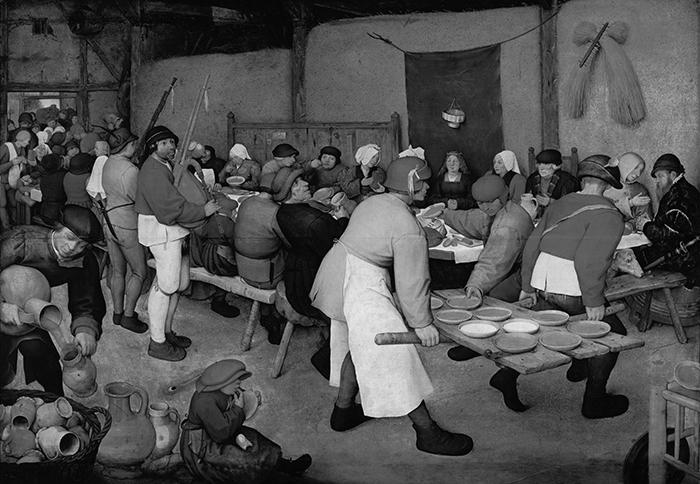 greyscaled_Pieter Bruegel the Elder, The Peasant Wedding, 1567 700W