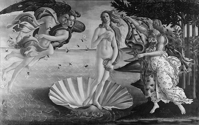 greyscaled_Sandro Botticelli, The Birth of Venus, 1483 - 1485 700W