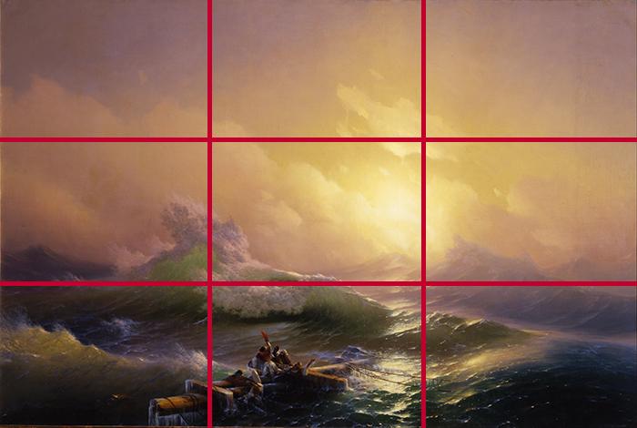 gridlines_Ivan Aivazovsky, The Ninth Wave, 1850 700W