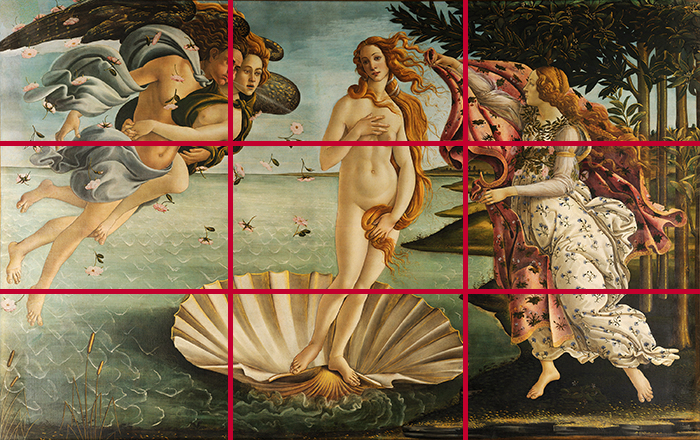gridlines_Sandro Botticelli, The Birth of Venus, 1483 - 1485 700W